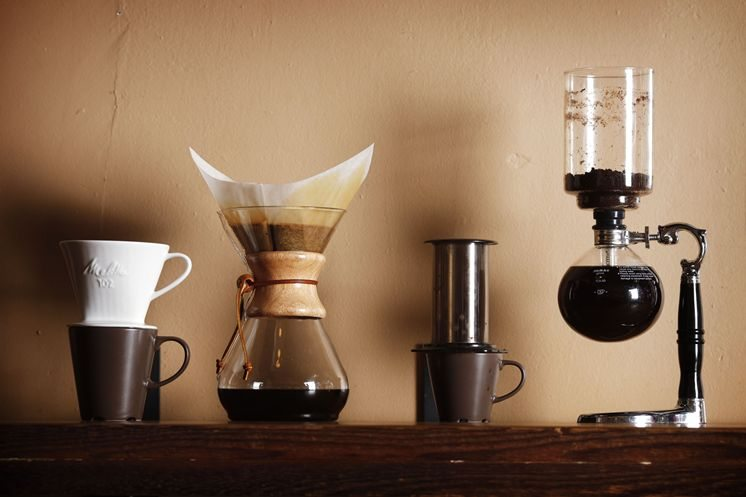 Several types of coffee brews